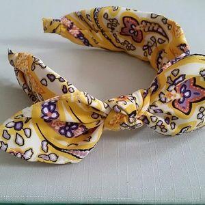 Mustard Bandana Prints Headband w/ Detachable Bow